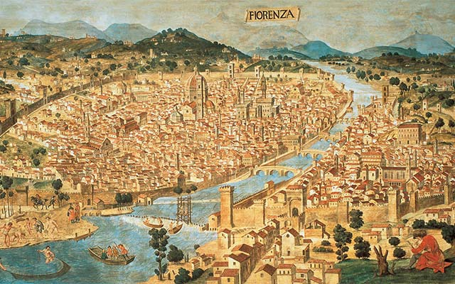A map of Florence in 1472, before the Vasari Corridor was built Copyright (c) Museo Palazzo Vecchio