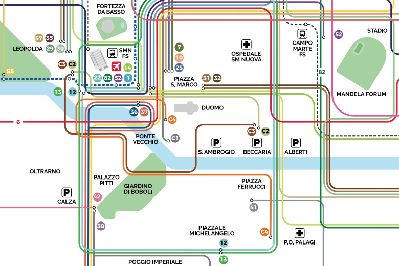 Map Of Italy Showing Florence.Florence Italy Free Map Of The Public Transport Where Italia