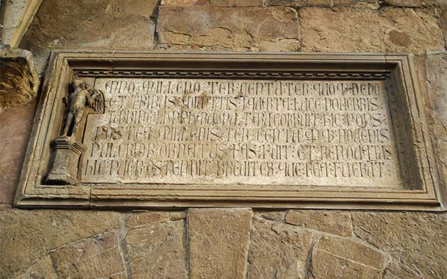 14th century plaque along Ponte Vecchio, Firenze, Italy. Picture by Giovanni Dall'Orto, October 28 2007