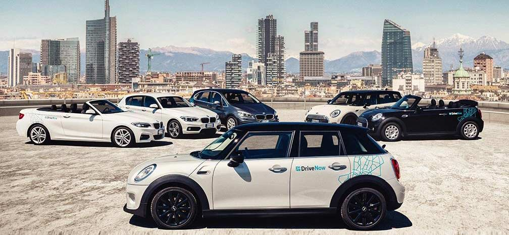 The luxury car sharing company DriveNow in Milano